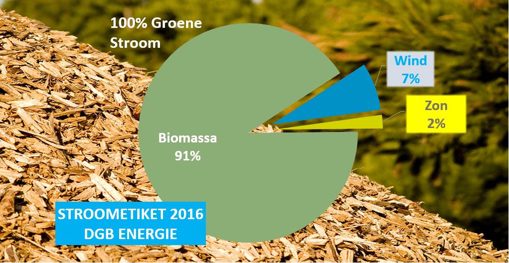 DGB Energie stroometiket 2016: 100% groene stroom