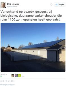 Twitterbericht Zon Zoekt Boer Overijssel
